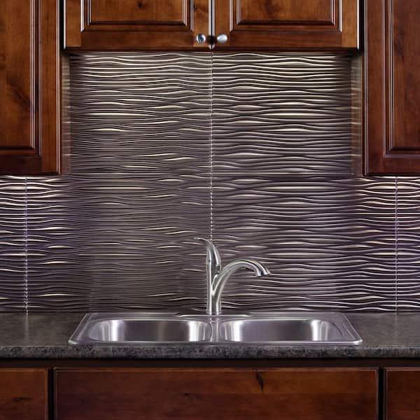Fasade 18 25 In X 24 25 In Brushed Nickel Waves Pvc Decorative Tile Backsplash B65 29 The Home Depot