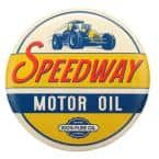 Motor Oil Tin Button Decorative Sign