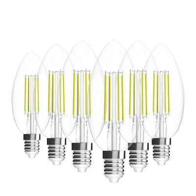 35-Watt Equivalent B10 Dimmable E12 Candelabra Base LED Light Bulb Warm White (6-Pack)