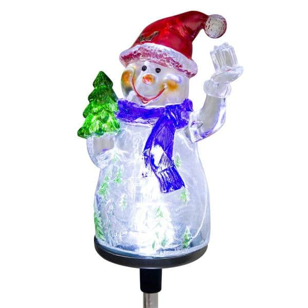 Alpine Corporation Solar Snowman Garden Stake With Fiber Optic Lights Set Of 2 Qlp1103slr 2 The Home Depot