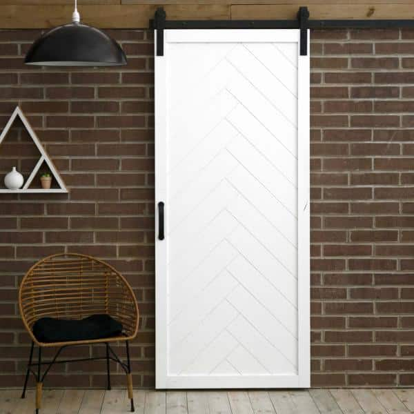 Dogberry Collections 36 In X 84 In Herringbone White Alder Wood Interior Sliding Barn Door Slab With Hardware Kit D Herr 3684 None Whit Hard The Home Depot