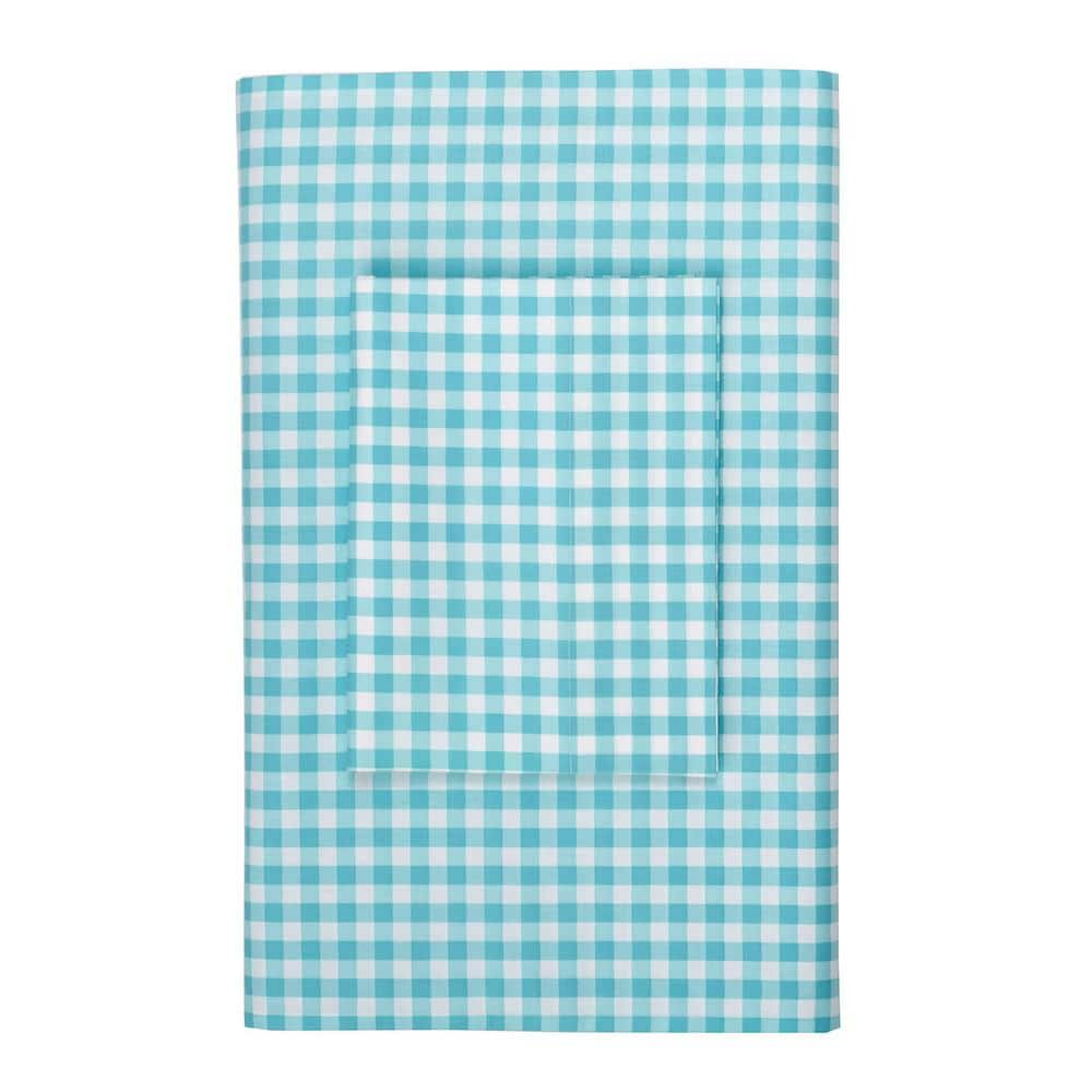 Cstudio Home By The Company Store Gingham Turquoise 200 Thread Count Cotton Percale Queen Flat Sheet 30270a Q Turquoise The Home Depot