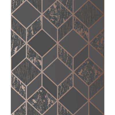 Vittorio Geometric Charcoal/Rose Gold Paper Peelable Roll (Covers 56 sq. ft.)
