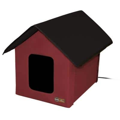 K&H 18 in. x 22 in. x 17 in. 20-Watt Outdoor Heated Kitty House Barn Red/Black