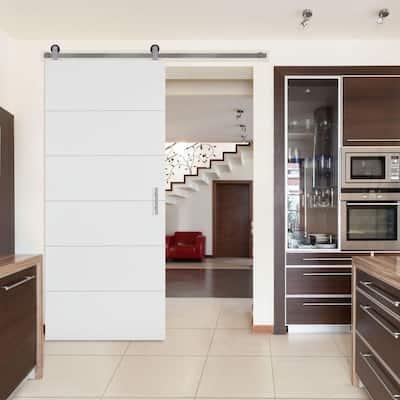 Solid Core Primed Composite Interior Barn Door Slab with Sliding Door Hardware Kit