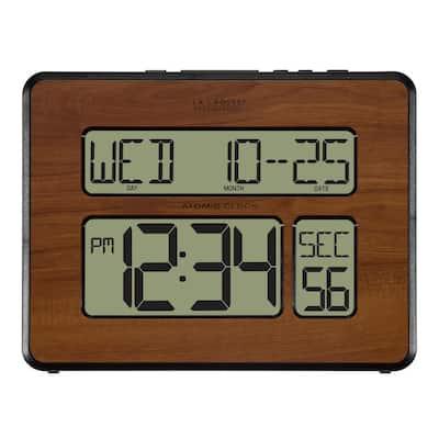 Atomic Full Calendar Digital Clock with Extra Large Digits in Walnut