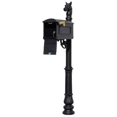 Lewiston Black Post Mount Locking Insert Mailbox System with decorative Ornate Base and Horsehead Finial