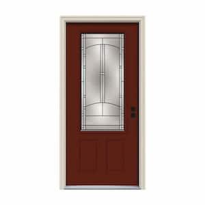 36 in. x 80 in. 3/4 Lite Idlewild Mesa Red Painted Steel Prehung Left-Hand Inswing Front Door w/Brickmould