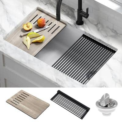 Bellucci White Granite Composite 32 in. Single Bowl Undermount Workstation Kitchen Sink with Accessories