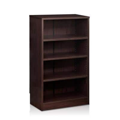 Indo 37.7 in. Espresso Wood 4-shelf Standard Bookcase with Adjustable Shelves