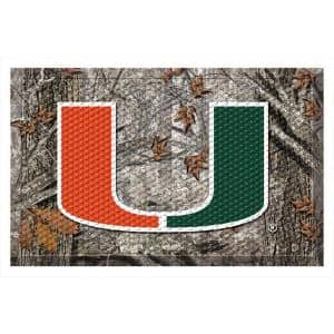 University of Miami Camo Heavy Duty Rubber Outdoor Scraprer Door Mat
