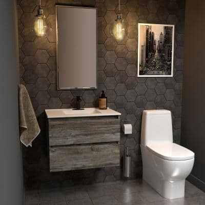 Sidemere 30 in. W x 18 in. D Vanity in Driftwood Gray with Porcelain Vanity Top in Solid White with White Basin