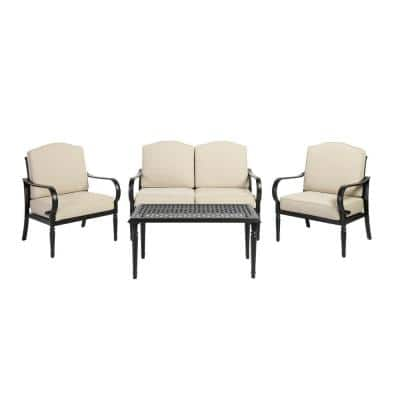 Laurel Oaks 4-Piece Brown Steel Outdoor Patio Conversation Seating Set with CushionGuard Putty Tan Cushions