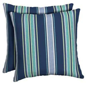 16 x 16 Sapphire Aurora Stripe Square Outdoor Throw Pillow (2-Pack)