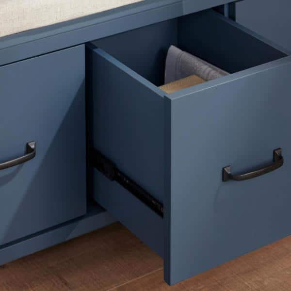 Home Decorators Collection Whitford Steel Blue Wood Entryway Bench With Cushion And Concealed Storage 38 In W X 19 In H Sk19330ar1 S The Home Depot