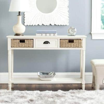 Winifred 45 in. White Standard Rectangle Wood Console Table with Drawers