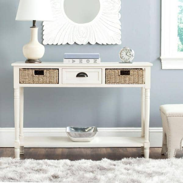 Safavieh Winifred 45 In White Standard, White Console Table With Storage Baskets