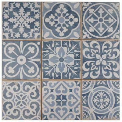 Take Home Tile Sample - Faenza Azul Encaustic 4.5 in. x 13 in. Ceramic Floor and Wall