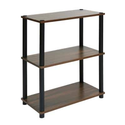 DETOLL 29.9 in. Brown Wood 3- -Shelf Standard Classic Bookcase with Build in Storage