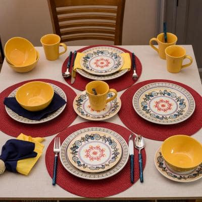Floreal Orange and Yellow 24-Piece Casual Orange and Yellow Earthenware Dinnerware Set (Service for 6)