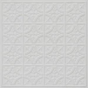 Scarlette 2 ft. L x 2 ft. L PVC GLue up or Lay in Ceiling Tile in White Matte (100 sq. ft./Case)