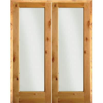 64 in. x 80 in. Rustic Knotty Alder 1-Lite Clear Glass Right Handed Solid Core Wood Double Prehung Interior Door