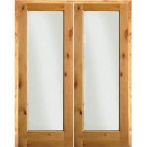 72 in. x 80 in. Rustic Knotty Alder 1-Lite Clear Glass Right Handed Solid Core Wood Double Prehung Interior Door