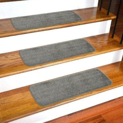 Softy Collection Gray 9 in. x 26 in. Rubber Back Stair Tread Cover (Set of 7)