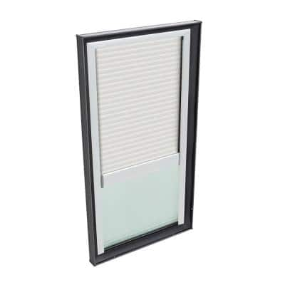 22-1/2 in. x 30-1/2 in. Fixed Curb Mount Skylight with Laminated Low-E3 Glass and White Manual Light Filtering Blind