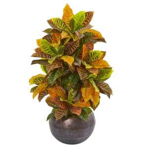 Nearly Natural 25 In Garden Croton Artificial Plant In Brown Planter Real Touch 8764 The Home Depot
