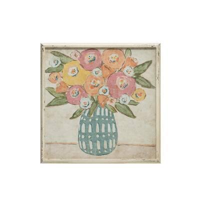 Flowers in Vase Wood Framed Wall Art