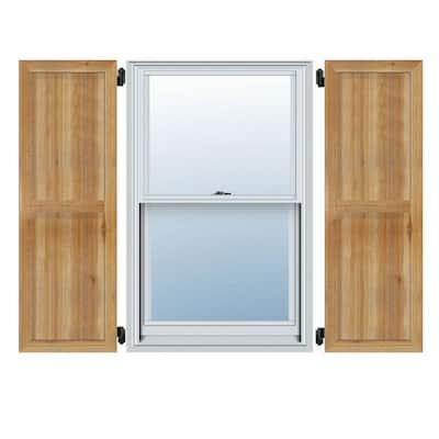 16-1/8 in. X 76 in.Timbercraft Rustic Wood Three 5-3/8 in.Framed Board and Batten Shutters Rough Sawn Cedar (Per Pair)