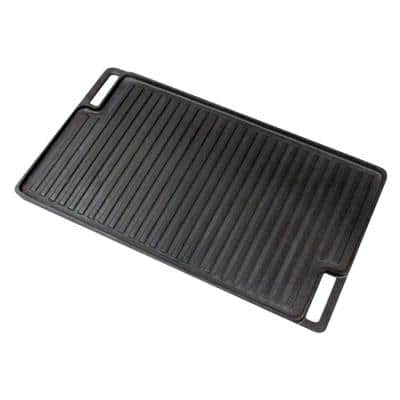 Reversible 18 in. Cast Iron Grill Pan in Black with Heat-Resistant Oven Grab Mitt