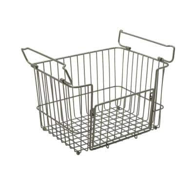 Medium Stacking Basket in Satin Nickel