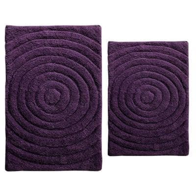 Echo Aubergine 21 in. x 34 in. and 40 in. x 24 in. 2-Piece Bath Rug Set