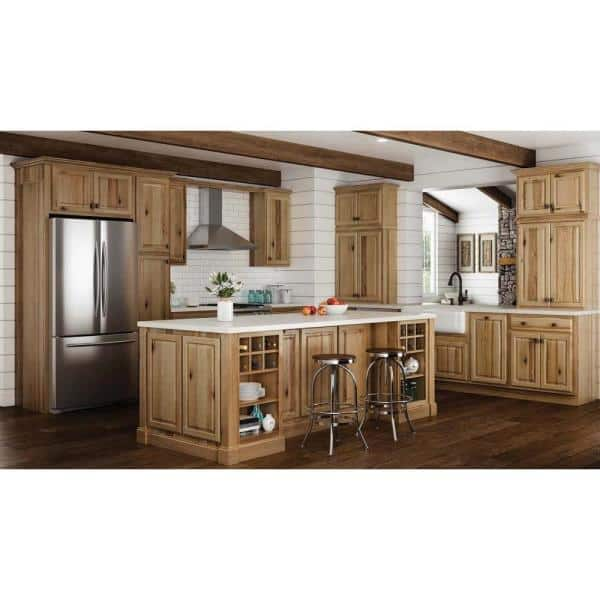 Hampton Bay Hampton Partially Assembled 36 X 34 5 X 24 In Corner Sink Base Kitchen Cabinet In Natural Hickory Kcsb36 Nhk The Home Depot