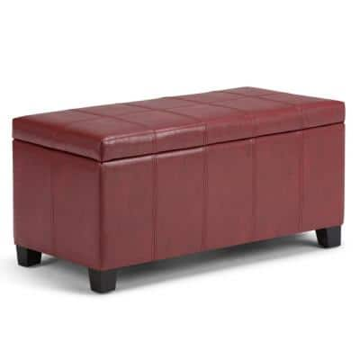 Sea Mills 36 inch Wide Contemporary Rectangle Storage Ottoman in Radicchio Red Faux Leather