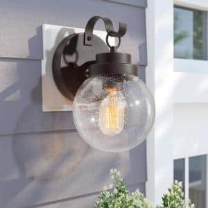 Globe 1-Light Modern Industrial Bronze Outdoor Wall Lantern Sconce Decorative Coach Light with Seeded Glass Shade