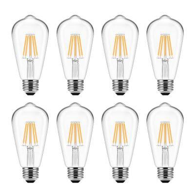 60-Watt Equivalent ST58 E26 Edison LED Light Bulb in Warm White (8-Pack)