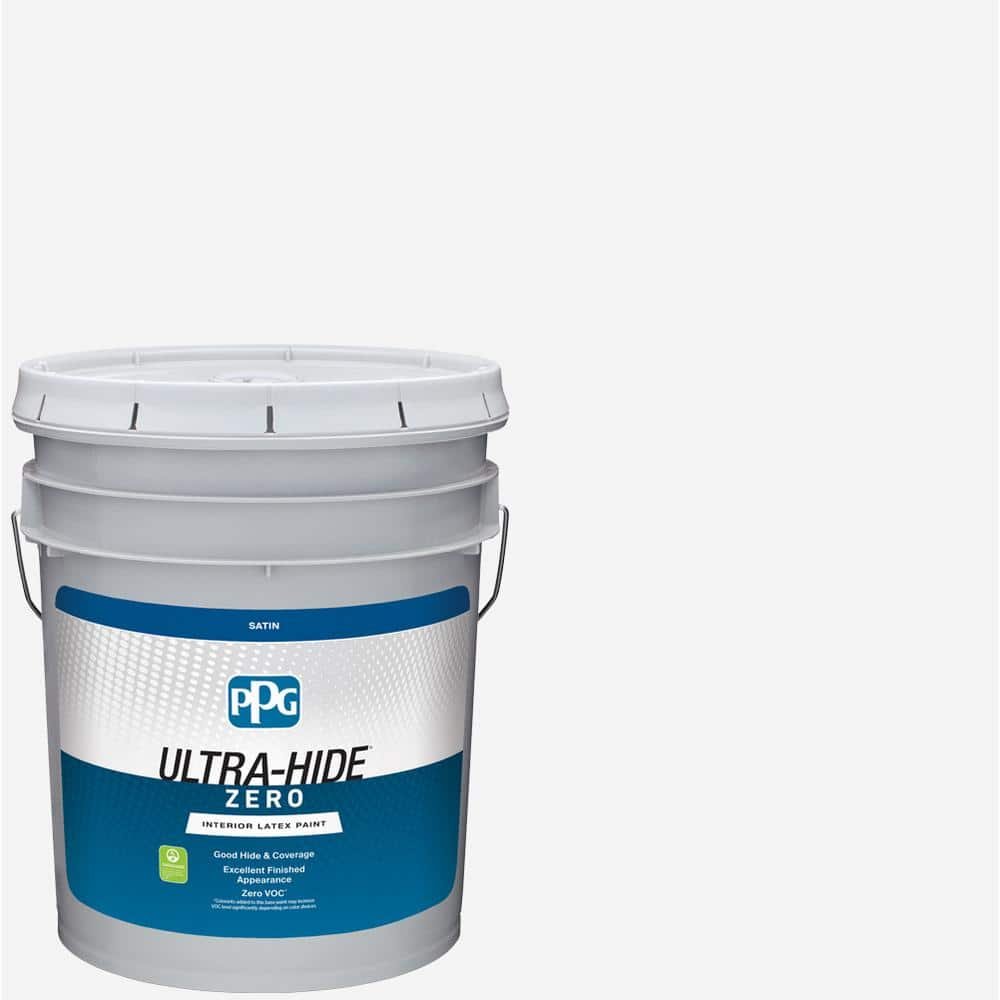 Ppg Ultra Hide Zero 5 Gal Pure White Base 1 Satin Interior Paint 1500 0100 05 The Home Depot