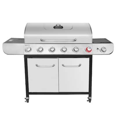 6-Burner BBQ Liquid Propane Gas Grill with Sear and Side Burner