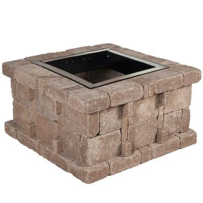 RumbleStone 38.5 in. x 21 in. Square Concrete Fire Pit Kit No. 4 in Cafe
