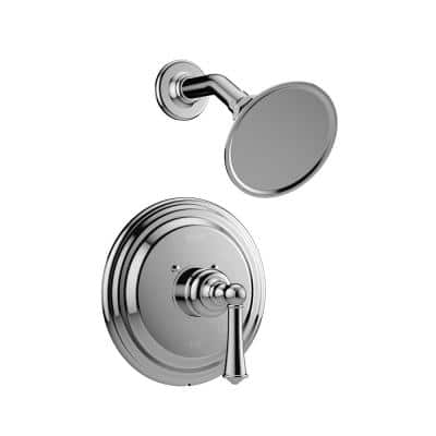 BARREA 1-Spray Pattern with 2.0 GPM 4.1 in. Wall Mount Fixed Shower Head in Polished Chrome with Valve Included