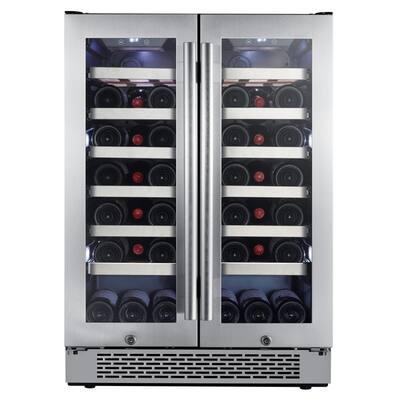 24 in. 42-Bottle Built-in French Door Wine Cooler with Door Locks