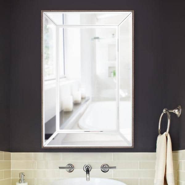 Marley Forrest Medium Rectangle Mirrored Frame Outlined In Champagne Silver Beaded Trim Modern Mirror 36 In H X 24 In W 15208 The Home Depot