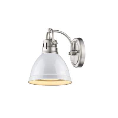 Duncan Pewter 1-Light Bath Light with White Shade