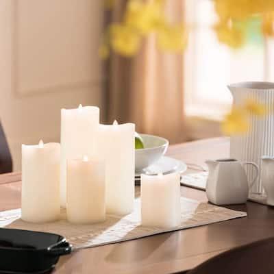 Elegant Ivory LED Flameless Pillar Candles (Set of 5)