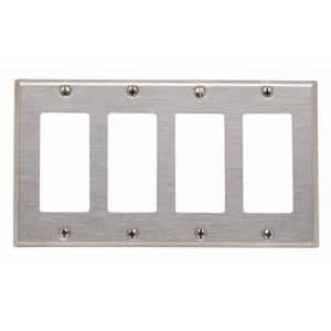4-Gang Decora/GFCI Device Decora Wallplate Device Mount, Stainless Steel