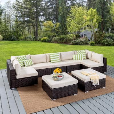 Nolan Multibrown 9-Piece Wicker Outdoor Sectional Set with Beige Cushions
