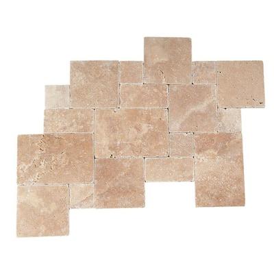 Travertine Inca Brown Blended Paredon Pattern Natural Stone Floor and Wall Tile Kit (6 sq. ft. / kit)